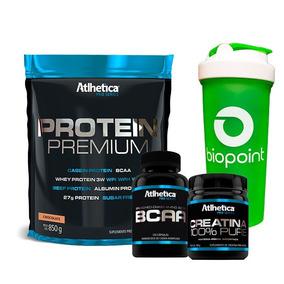 Kit Protein Premium + Bcaa + Creatina - Atlhetica Chocolate