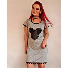 Vestido Básico Curto Feminino Do Mickey Bordado Pérolas Moda