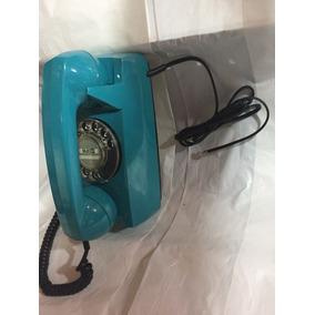 Telefone Tijolinho De Disco De Parede Cor Azul Turquesa