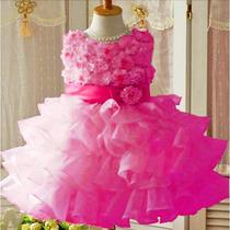 Vestido Infantil Criança Festa Rosa Importado