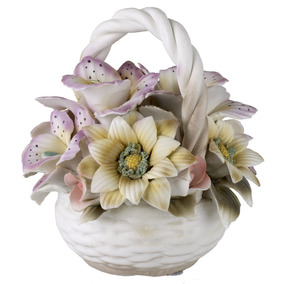 Capodimonte Porcelain Figurine Basket Bouquet With Colorful