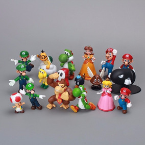 Kit Boneco Super Mario Bros 18 Miniaturas