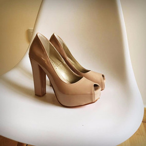 Stilettos Zapatos Taco Palo Acharolado Negro Fiesta ! Nude Y