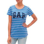 Tshirt Gap Feminina Stripe Logo  Original Graphic Tee Eua