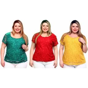 Kit 3 Blusas Plus Size Viscolycra Com Renda, Bl063