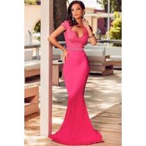 Vestido Longo Festa Formatura Batizado Madrinha Pink Luxo