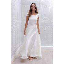 Vestido Blanco Encaje Novias Iglesia Civil Fiestas
