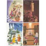 Lote : 4 Tarjetas Postales Navidad Felicidades Canje