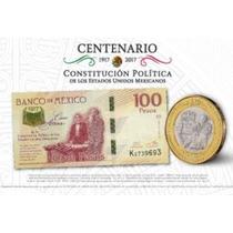 Billete Y Moneda Nuevos!! 2017 Mexico 100 Y 20 Pesos