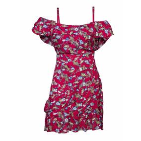 Vestido De Tiras 3/4 Estampado Flores 63st1440