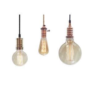 Portalampara Con Lampara Filamento Y Cable Textil Vintage