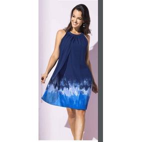 Vestido Azul, Semi Holgado, Sin Mangas, Dama, Andrea