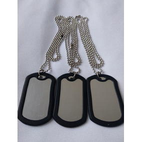 12 Collar Militar Identificacion Placa De Acero Envio Gratis
