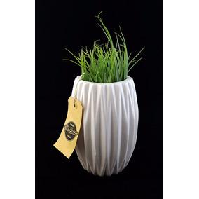 Florero Ceramica Esmaltada Blanca Escandinavo Pequeño 15cm