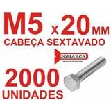 Pct 2000/parafusos Sextavado Rosca Inteira Métrica M5x20
