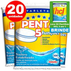 Pastilha De Cloro - 5 Em 1 - Hcl Penta - 200 Gramas 20 Unid.