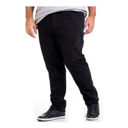 Calça Plus Size Preta Masculina Jeans Sarja Dark Com Lycra