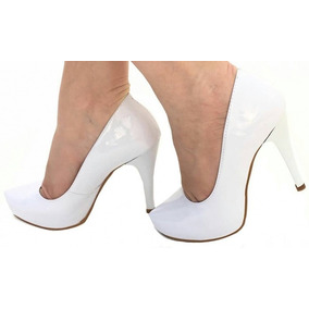 Sapato Scarpin Salto Fino Branco Noiva Casamento Festa 686