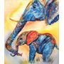 Elefante Madre E Hijo En Tela Canvas De 120x100 Cm Exelente