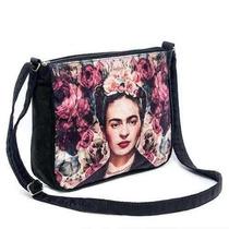 Bolsa Capanga Frida Kahlo Floral Mexicana Acabamento Forrada