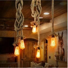 Lampara Vintage Industrial 2 Lazos O Cuerdas De Focos Edison