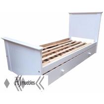 Cama Una Plaza Laqueada Blanca Para Colchón De 1.90x80