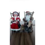 Mamãe Noel E Papai Noel Sentado Cadeira 40 Cm