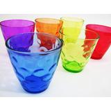 Jogo 6 Copo Color 260 Ml Vidro Agua Drink Refrigerante