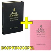 Kit Bíblia Sagrada Harpa Cristã Letra Grande Rc Preta + Rosa