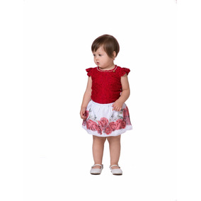 Conjunto Infantil Menina Blusa Saia Floral Gabriela Aquarela