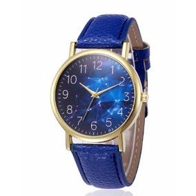 Relógio Feminino Original Susenstone Pulseira Couro Azul