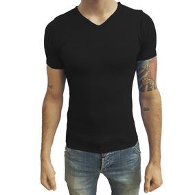 Camisa Slim Gola V Em Viés Viscose Com Elastano