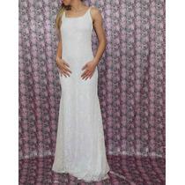 Vestido De Novia Sirena Diseño Encaje Civil Sin Espalda