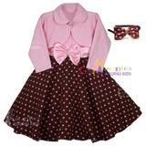 Vestido Infantil De Festa Ursa Rosa E Marrom Com Bolero