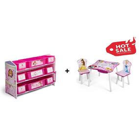 Kit Juguetero Y Mesa Con Dos Sillas Infantil Disney Princess