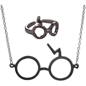 Genial Collar Y Anillo Negro Metalico De De Harry Potter