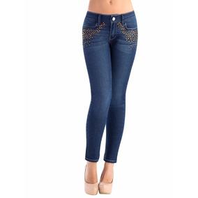45196 Pantalón Mezclilla Con Pedreria(jeans) Dama Ilusión