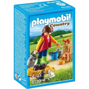 Playmobil Mujer Con Familia De Gatos 6139 Country Educando