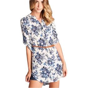Toqe - Vestido Camisa Blue Estampa.