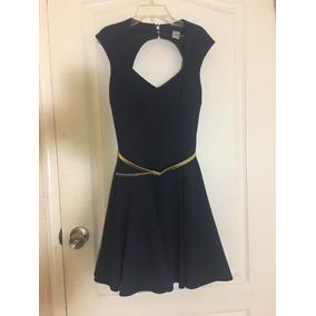 Vestido De Fiesta Azul Oscuro Talla 4 Cinto Incluido!!