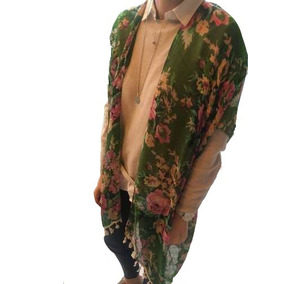 Kimono Saco Saquito Gasa Verano Floreado Estampado C/ Flecos