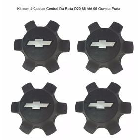Kit 4 Calotas Central Da Roda D20 85 Até 96 Gravata Prata