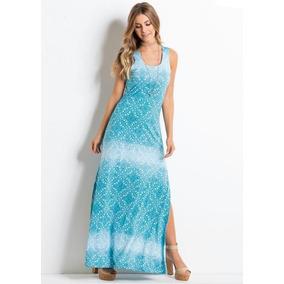Vestido Longo Feminino Regata Malha Azul Turquesa Elegante