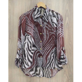 Camisa Banana Black Chiffon Animal Print Marrom Com Preto