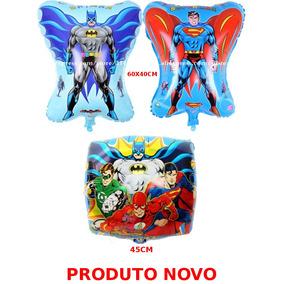 10un Balão Metalizado Liga Da Justiça Batman Superman #