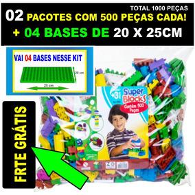 Kit 02 Pacotes De 500 Peças + 04 Bases Para Montar Os Blocos