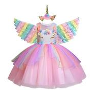 Vestido Unicórnio Luxo Festa Infantil Glamour +chifre +asas