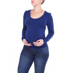 Blusa Gestante Sem Costura Manga Longa Azul Marinho - Azul M