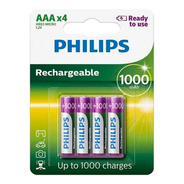 Pilha Recarregavel Philips Aaa 1000 C/ 4 Und Rtu Original Nf