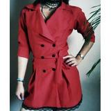 Blazer Tipo Vestido Corto Dama Abrigo Elegante Casual Vestir